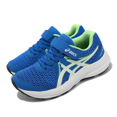 Asics 慢跑鞋 Contend 7 PS 運動 童鞋 亞瑟士 魔鬼氈 透氣 舒適 耐用 中童 藍 白 1014A194405