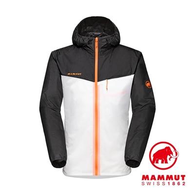 【Mammut 長毛象】Convey WB Hooded Jacket 輕量防潑水連帽風衣外套 黑/白 男款 #1012-00110