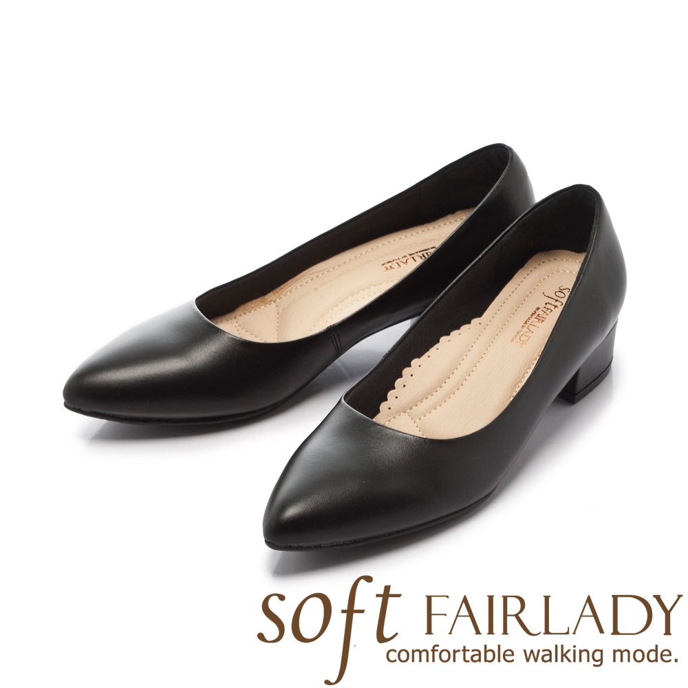 Fair Lady New超級上班者聯盟6號 優雅輕盈尖頭粗跟 黑