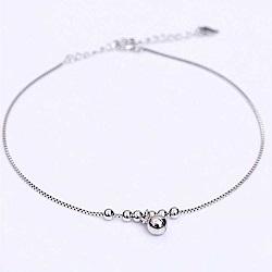 米蘭精品 925純銀腳鍊-亮面圓珠鈴鐺盒子鍊