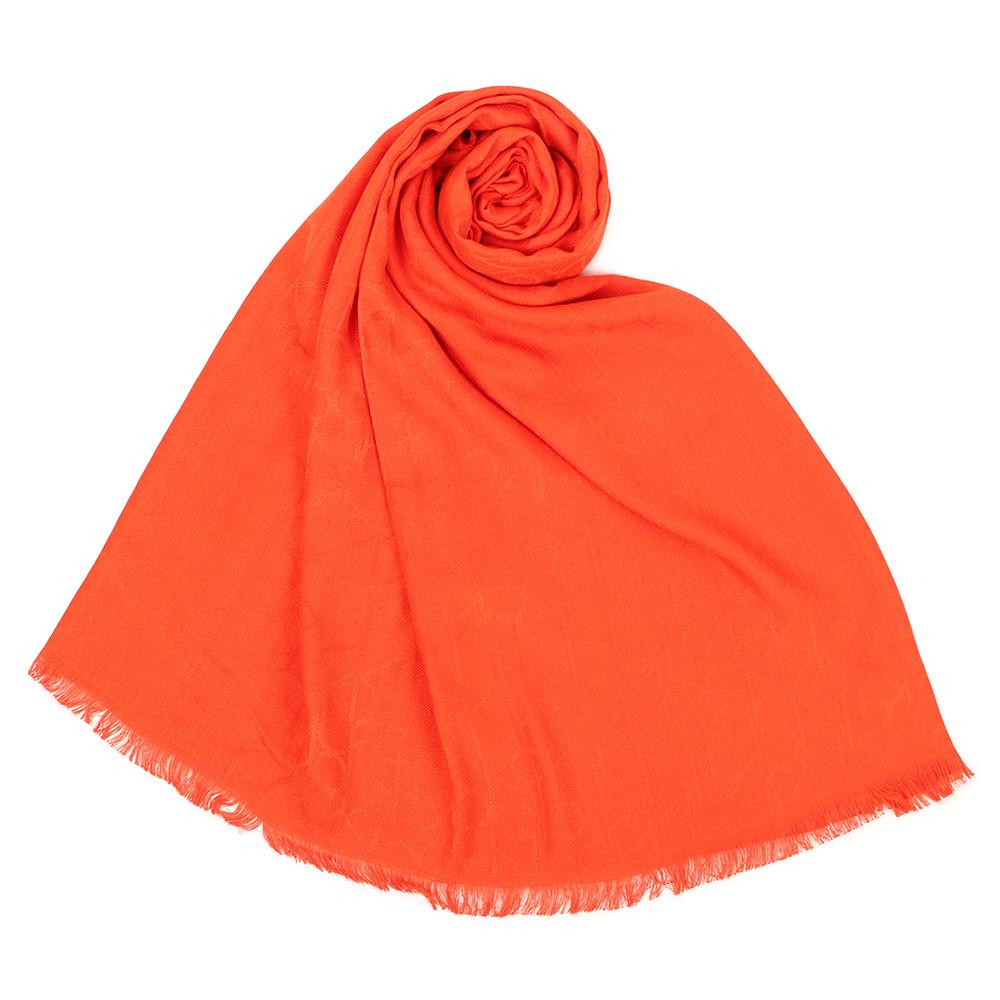 Calvin Klein CK滿版LOGO絲質寬版披肩圍巾-橘色 @ Y!購物