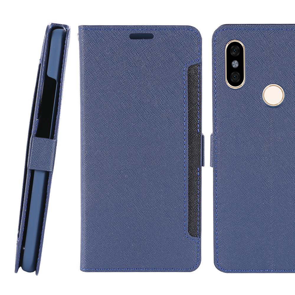 CASE SHOP 紅米7 專用前收納式側掀皮套-藍