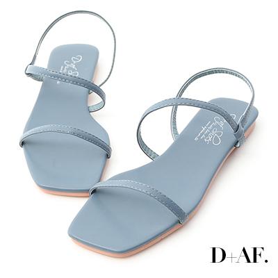 D+AF 清爽自在.復古方頭一字平底涼鞋*藍