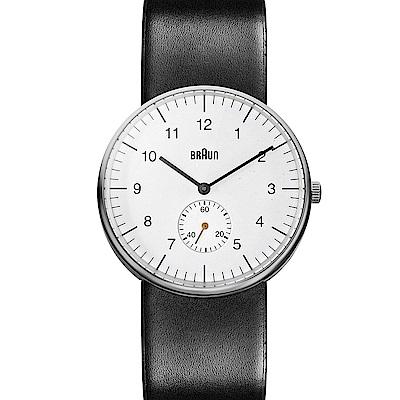 BRAUN德國百靈 經典款單眼皮革錶 -白色/38mm
