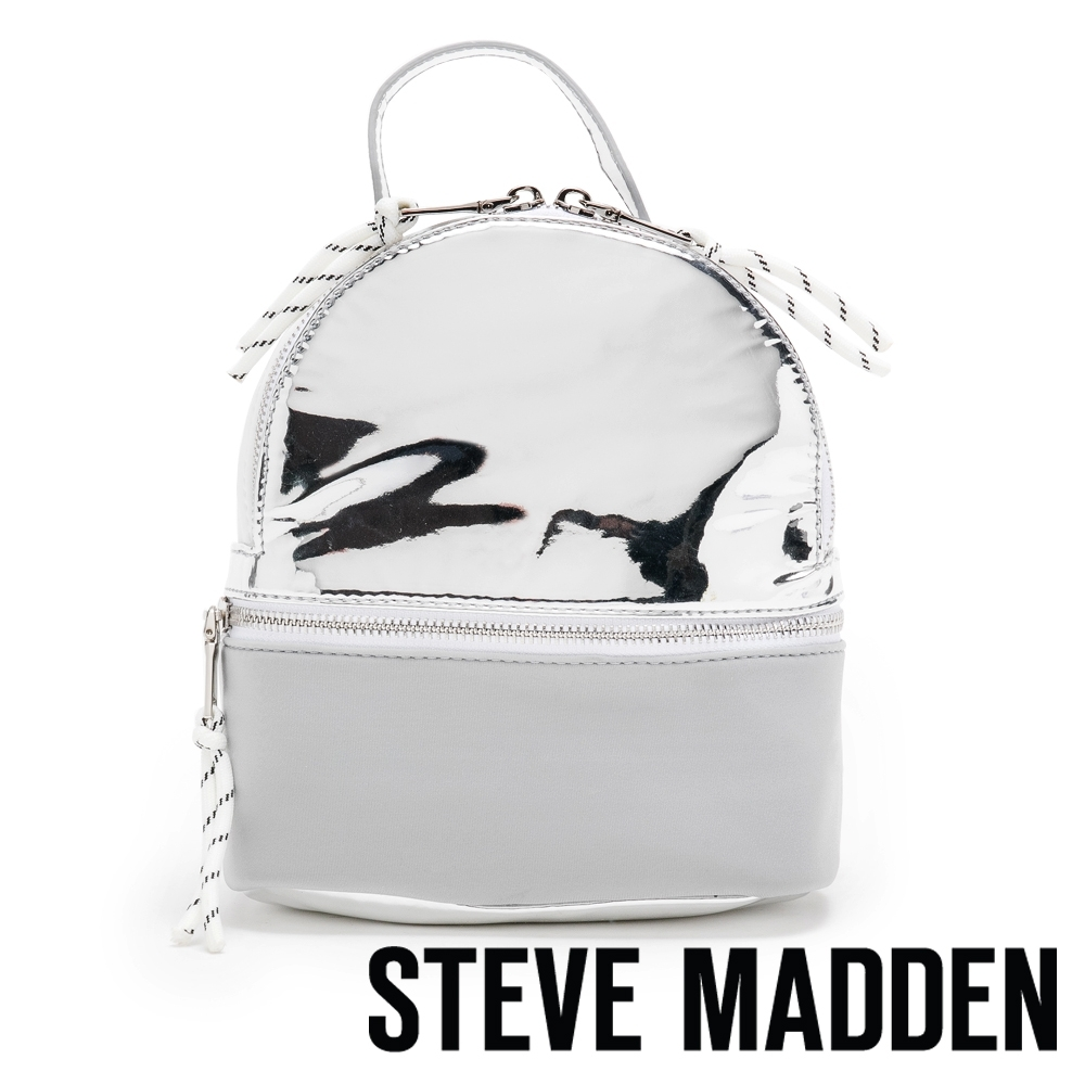STEVE MADDEN-BCANDACE  閃耀潮流拼接雙肩後背包-特殊紋銀色