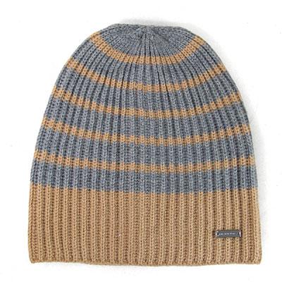MICHAEL KORS 金屬飾牌雙色針織條紋毛線帽(駝灰條紋-男女皆宜)