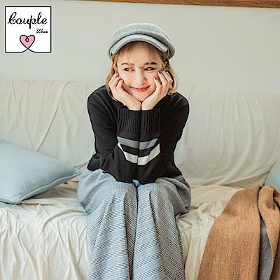 情侶系列~色塊拼接針織上衣(女)-OB嚴選