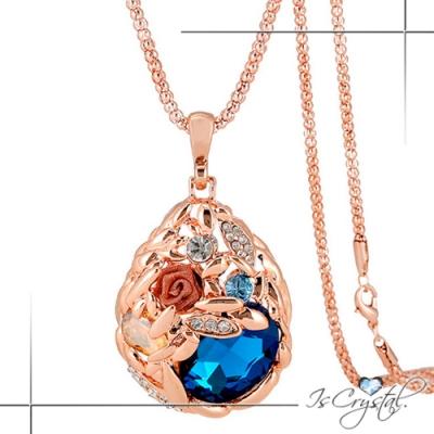 伊飾晶漾iSCrystal 愛的稻穗 薔薇水晶玫瑰金長鍊 藍