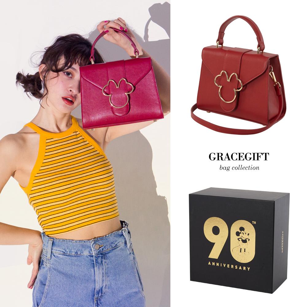 Disney collection by grace gift-米妮頭造型金屬側背包