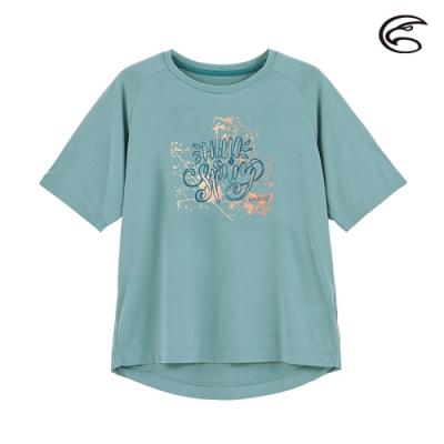 ADISI 女輕薄棉感圖騰圓領短袖排汗衣AL2011113 (S-2XL) 灰色寧藍
