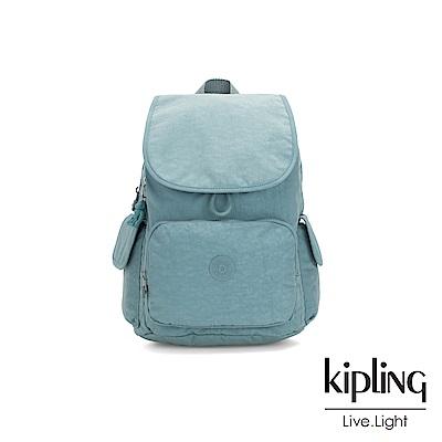 Kipling 冰霜綠拉鍊掀蓋後背包-CITY PACK