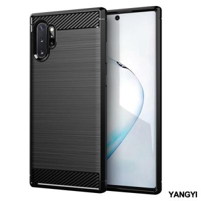 揚邑 Samsung Note 10+ 拉絲紋碳纖維軟殼散熱防震抗摔手機殼-黑