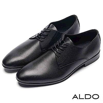 ALDO 原色真皮網眼鞋面綁帶式男尖頭粗跟皮鞋~尊爵黑色