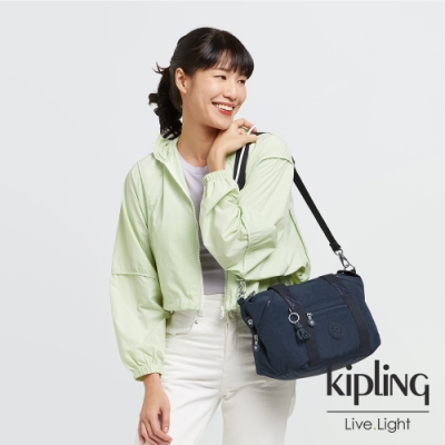 Kipling 都市沉穩藍手提側背包-ART MINI
