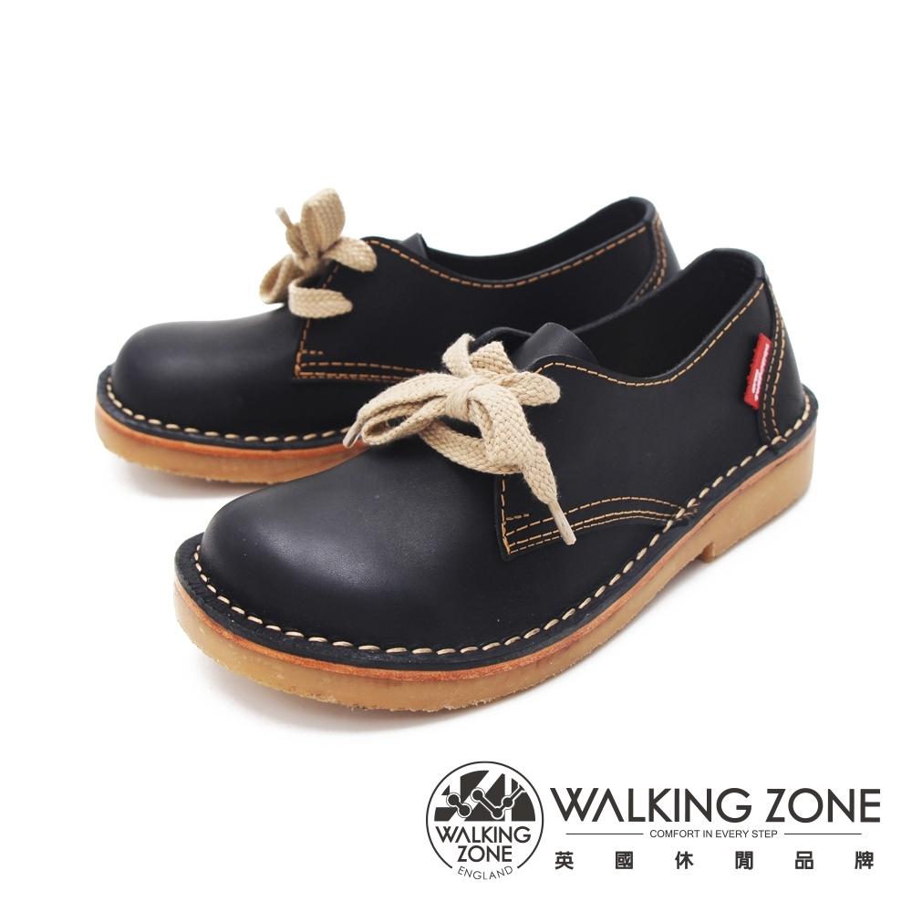 WALKING ZONE (女)大圓頭麵包鞋 休閒女鞋-黑(另有咖)