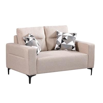MUNA 3207型米色雙人椅布沙發 148X90X78cm
