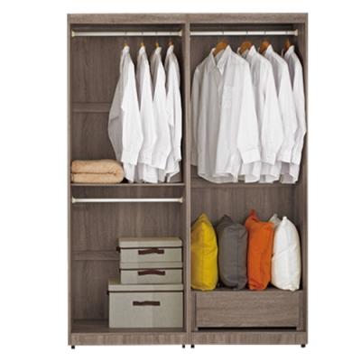 文創集 希爾 淺橡木紋4.7尺雙吊單抽衣櫃/收納櫃組合-140x54x197cm免組