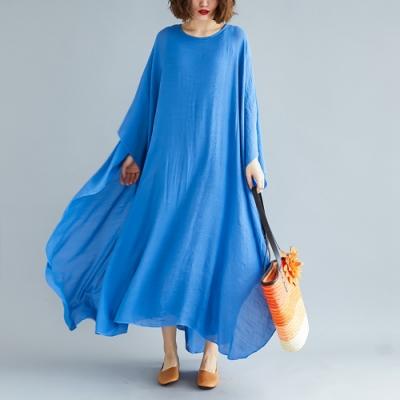 開岔衣袖設計寬鬆飄逸棉麻洋裝M-2XL(共三色)-Keer