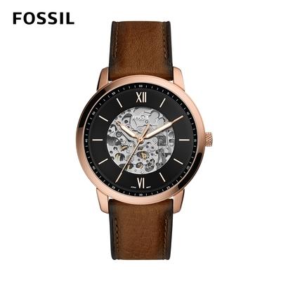 FOSSIL Neutra Automatic 鏤空錶盤自動機械手錶 咖啡色真皮錶帶 44MM ME3195