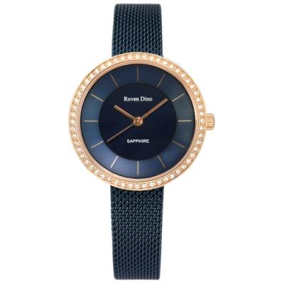 羅梵迪諾 Roven Dino 愛遙遠系列 米蘭編織不鏽鋼手錶 藍x玫瑰金框/32mm