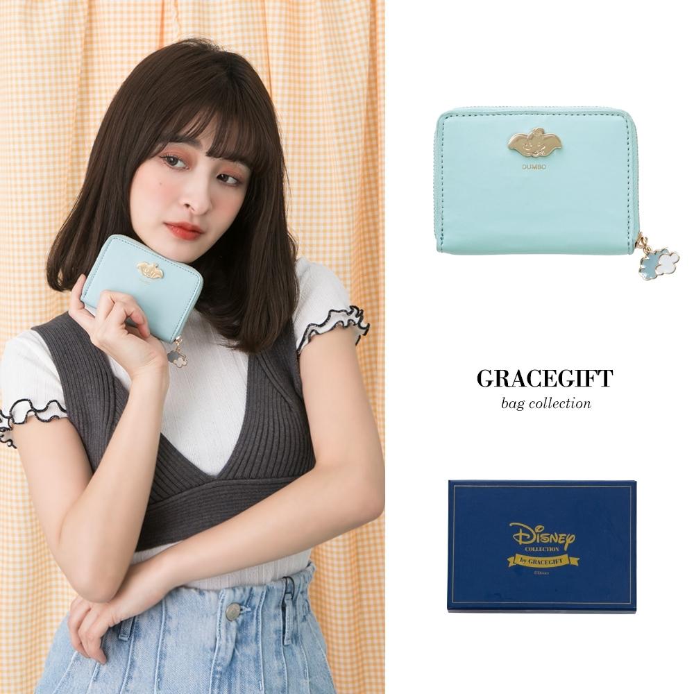 Disney collection by gracegift-迪士尼小飛象飾釦票卡短夾 藍