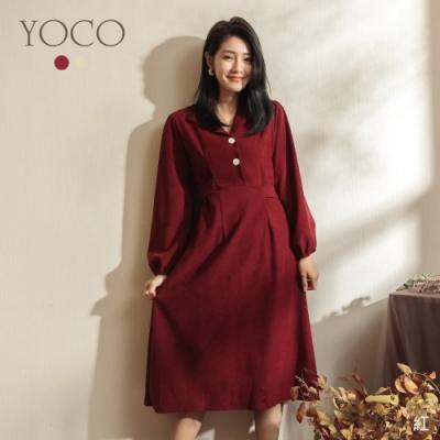 東京著衣-YOCO 復古魅力V領磨毛綁帶洋裝(共二色)