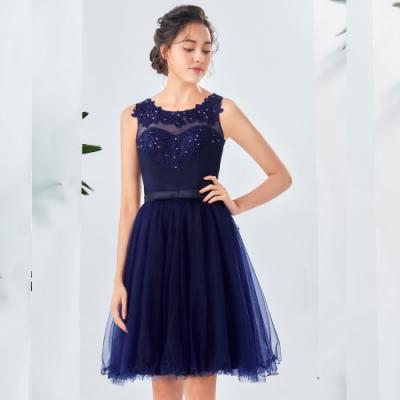 OMUSES 重工刺繡蕾絲短禮服