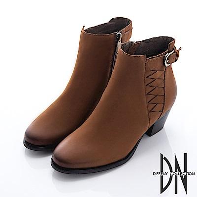 DN 摩登現代 擦色羊皮造型粗跟短靴-棕
