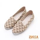ZUCCA-縷空編織花邊平底包鞋-金-z6222gd