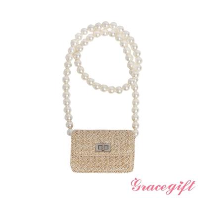 Grace gift-珍珠鍊帶藤編小包 米