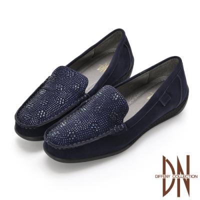 DN休閒鞋_閃耀全真皮手工縫線莫卡辛彈力休閒鞋-藍
