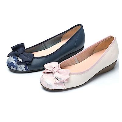 [時時樂限定]CUMAR舒適真皮緞帶蝴蝶結真皮舒適鞋-二色