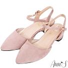 Ann'S砰然約會-夢幻細絨繫帶側V顯瘦粗跟尖頭鞋-粉