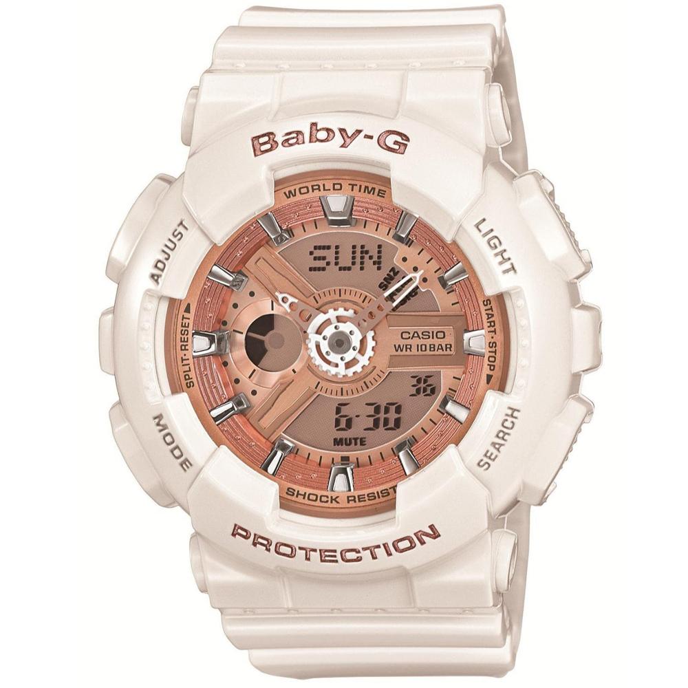 BABY-G 多層次機械酷感女孩休閒腕錶(BA-110-7A1)-玫瑰香檳金/白43.4mm