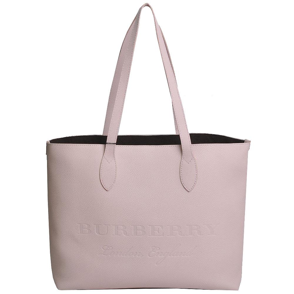 BURBERRY Embossed 高質感小牛皮品牌字母LOGO中型托特購物包(粉紅)