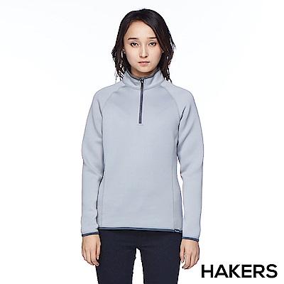 【HAKERS】女款 半開襟保暖快乾衫(灰色)