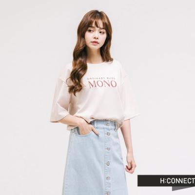 H:CONNECT 韓國品牌 女裝 - 簡約文字T-shirt-米白