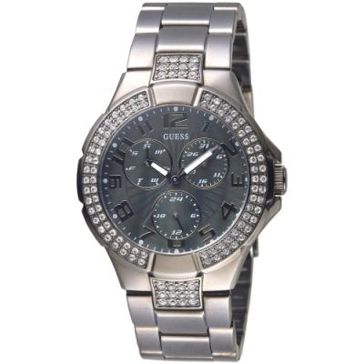 GUESS 多層次錶盤設計全月曆晶鑽手錶-全IP黑-GWW17503L1-39mm