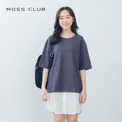 【MOSS CLUB】素面簡約長版-上衣(藍色)