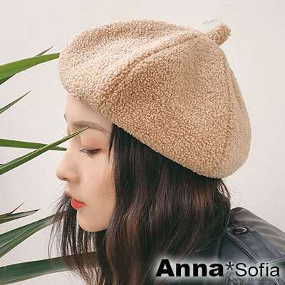 AnnaSofia 軟軟蓬鬆熊絨 仿羊羔毛畫家帽貝蕾帽(駝系)
