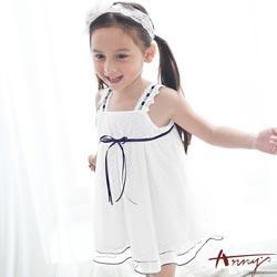 Annys甜美手工訂製緞帶蕾絲吊帶清透洋裝*7514白
