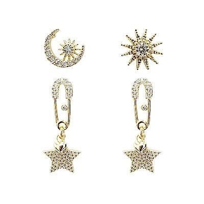 Prisme 美國時尚飾品 閃耀星空水鑽金色耳環