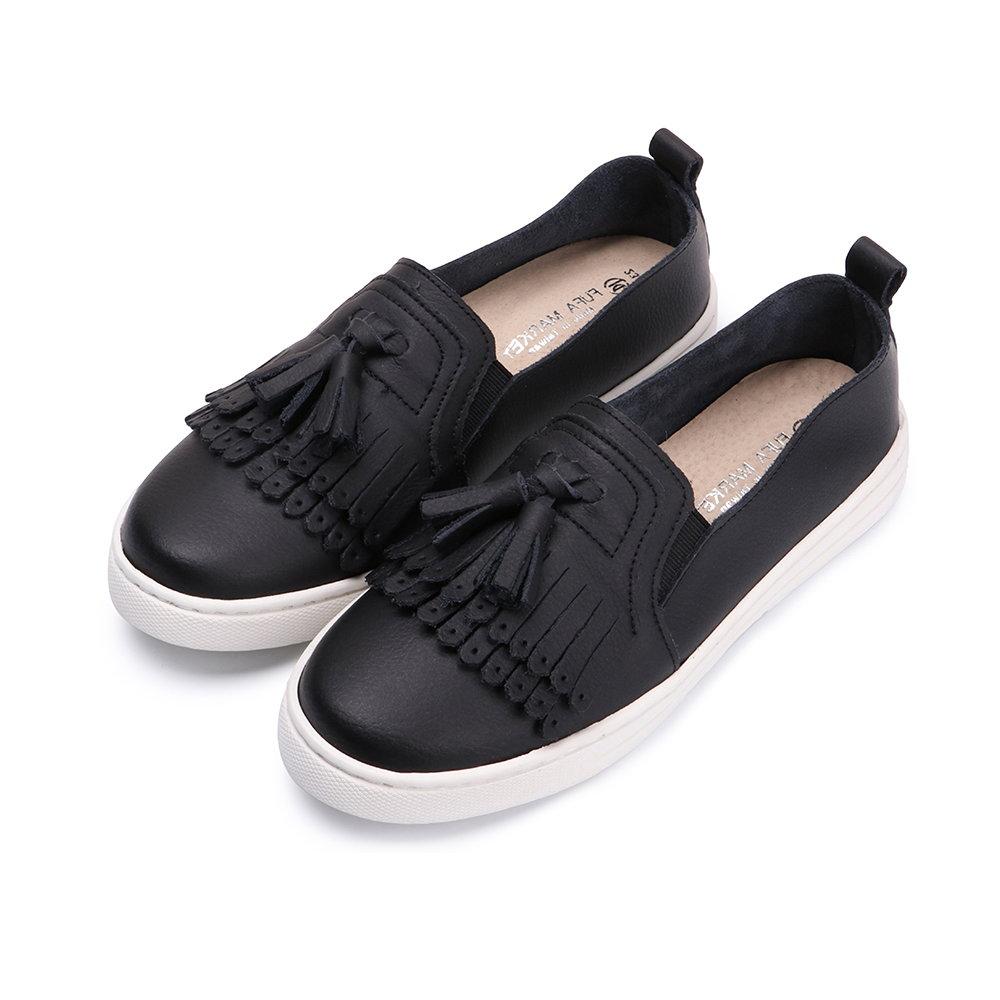 BuyGlasses 真皮好穿搭流蘇懶人鞋-黑 @ Y!購物