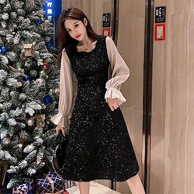 DABI 韓系小香風氣質泡泡袖收腰復古假兩件長袖洋裝