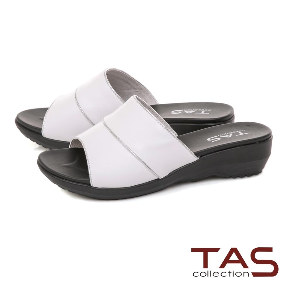 TAS 寬版一字涼拖鞋-簡約白