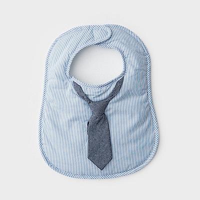 美國Frenchie MC嬰童圍兜 - 淺藍條紋領帶