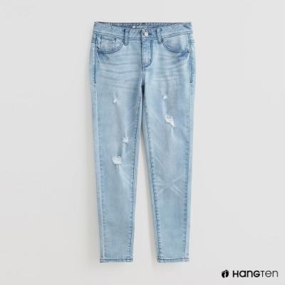 Hang Ten - 率性風刷破牛仔褲 - 淺藍