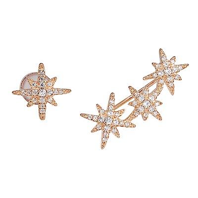 apm MONACO法國精品珠寶 玫瑰金鑲鋯繁星不對稱耳環