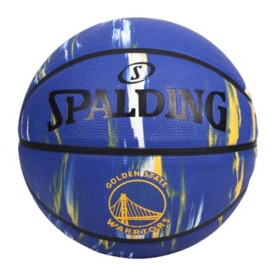 SPALDING NBA隊徽-勇士 #7籃球-7號球 室內 戶外 運動 訓練 斯伯丁 SPA84100 藍黃黑