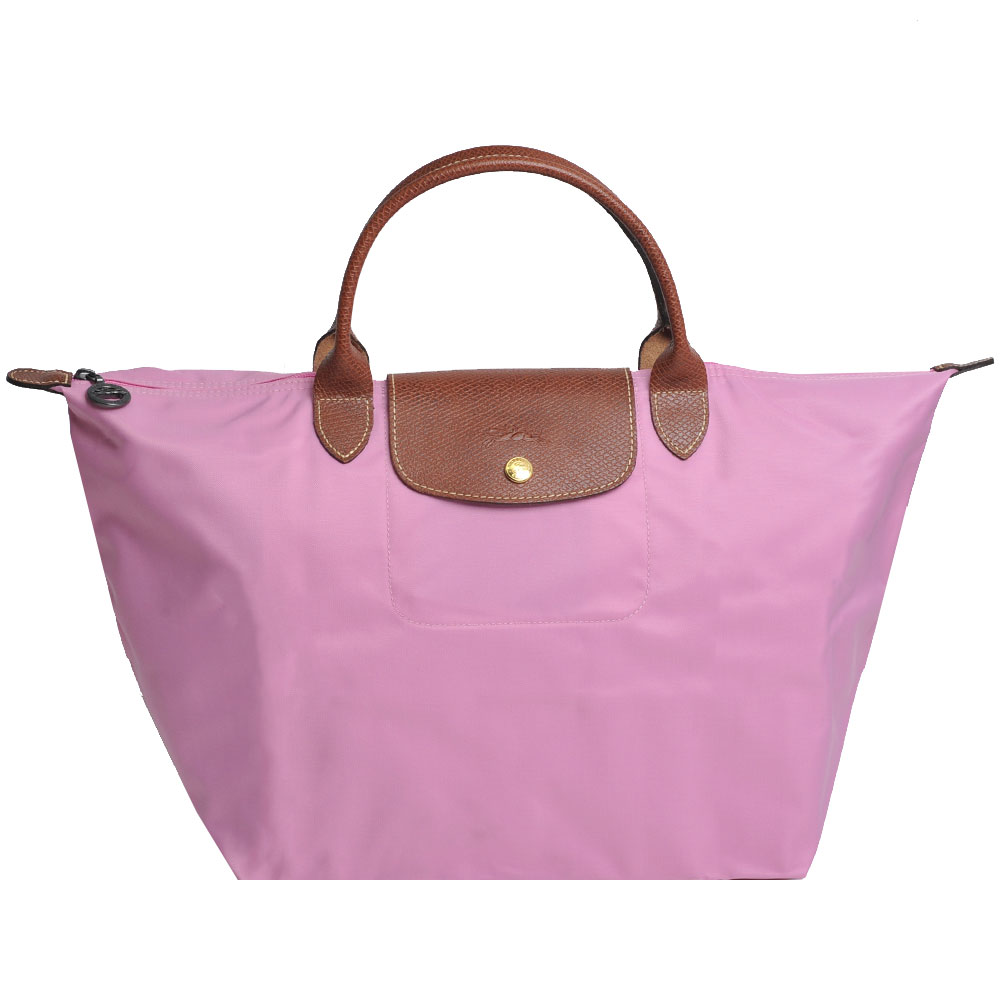 Longchamp折疊中型手提水餃包(櫻花粉)